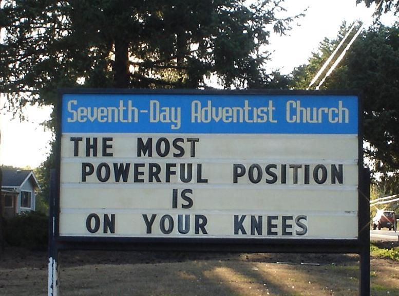 Church sign -knees