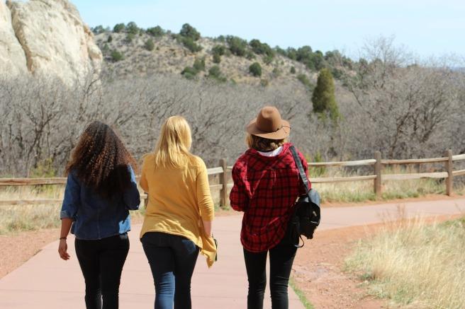 women walking in a line