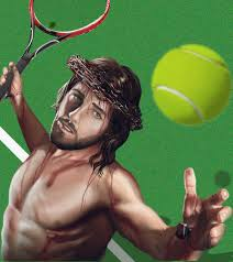 jesus playing tennis