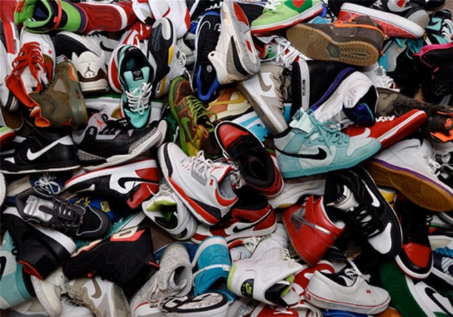 pile of athletic shoes