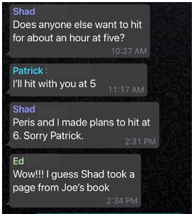 Chat message of Shad bailing on Patrick to play with his daughter Peris.  Some say this dick move is not like the other...